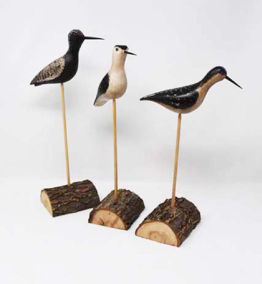 3 unsigned wooden shore birds