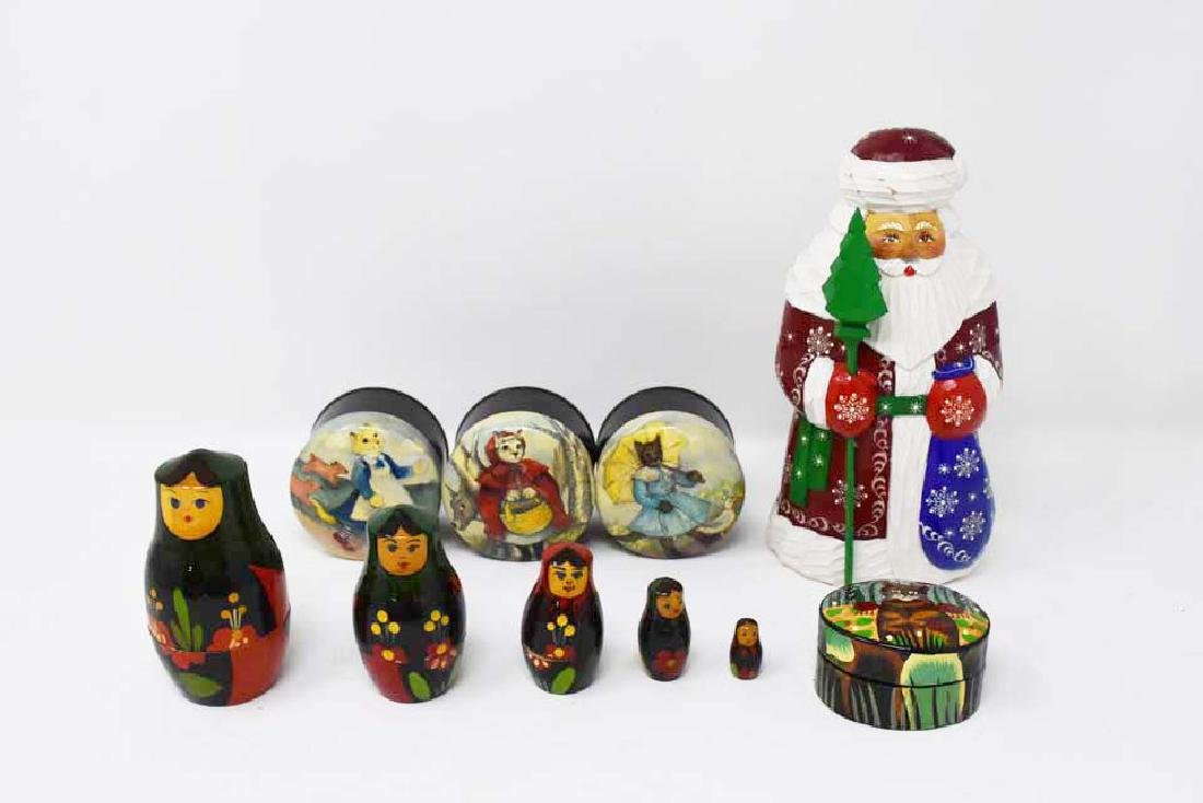 6 pieces to include Santa, nesting dolls, & boxes