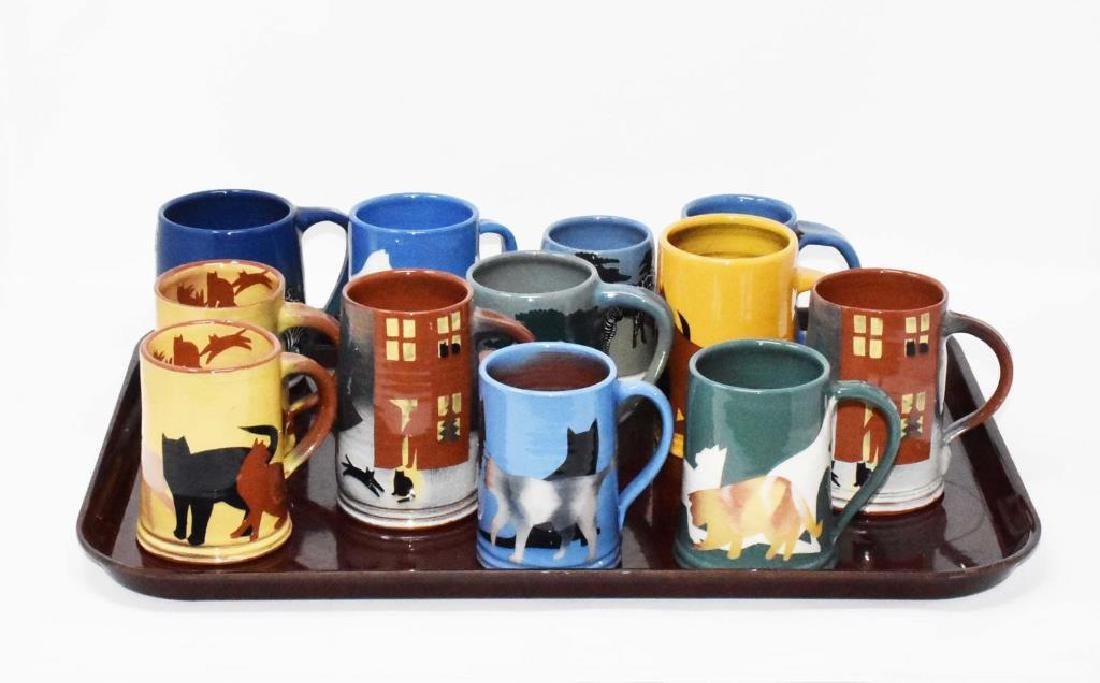 12 West Cote Bell pottery mugs
