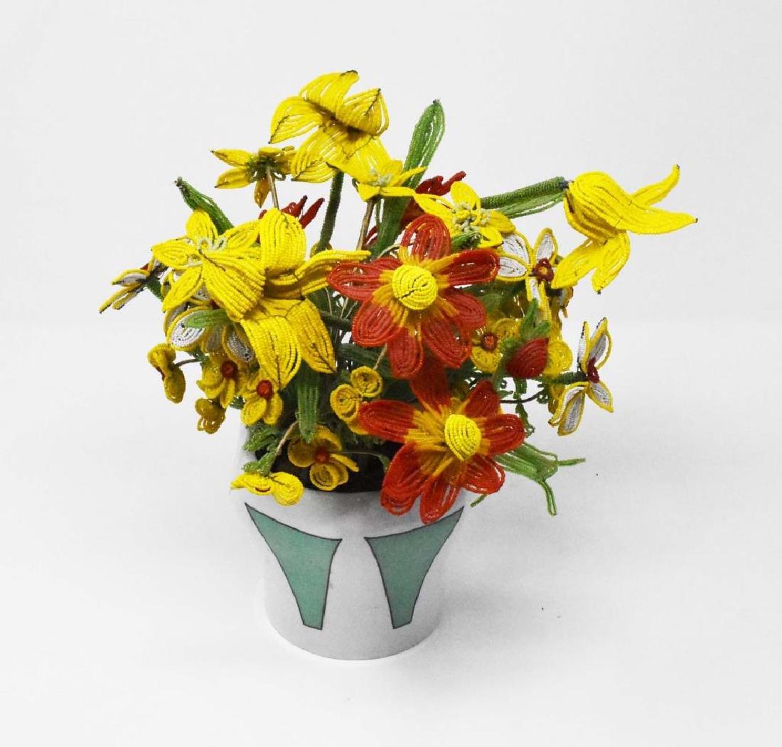Vase of beaded flowers
