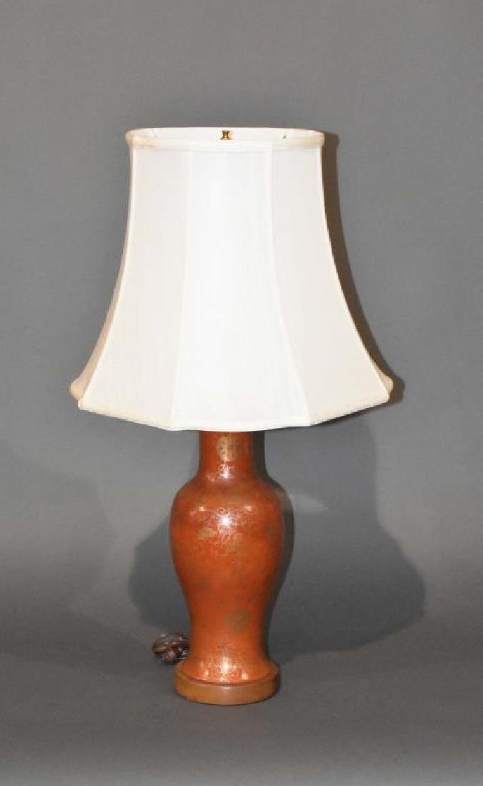 Antique Asian ceramic vase lamp