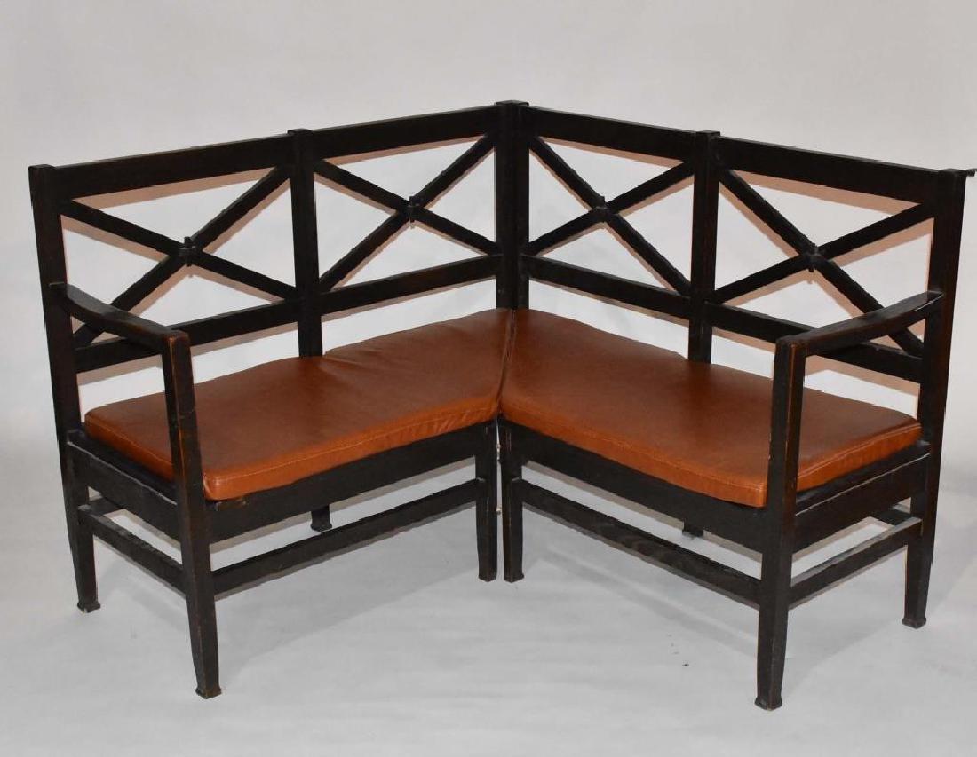 Unusual oak 2 piece corner bench