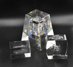 Jon Kuhn glass paperweight plus 2 others