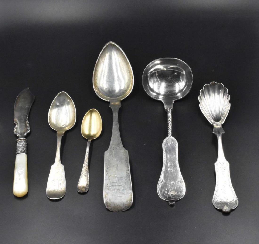 6 pieces of assorted flatware