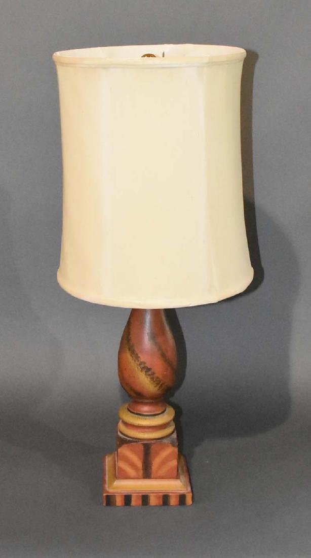 Paint decorated column lamp by Gus Knapp