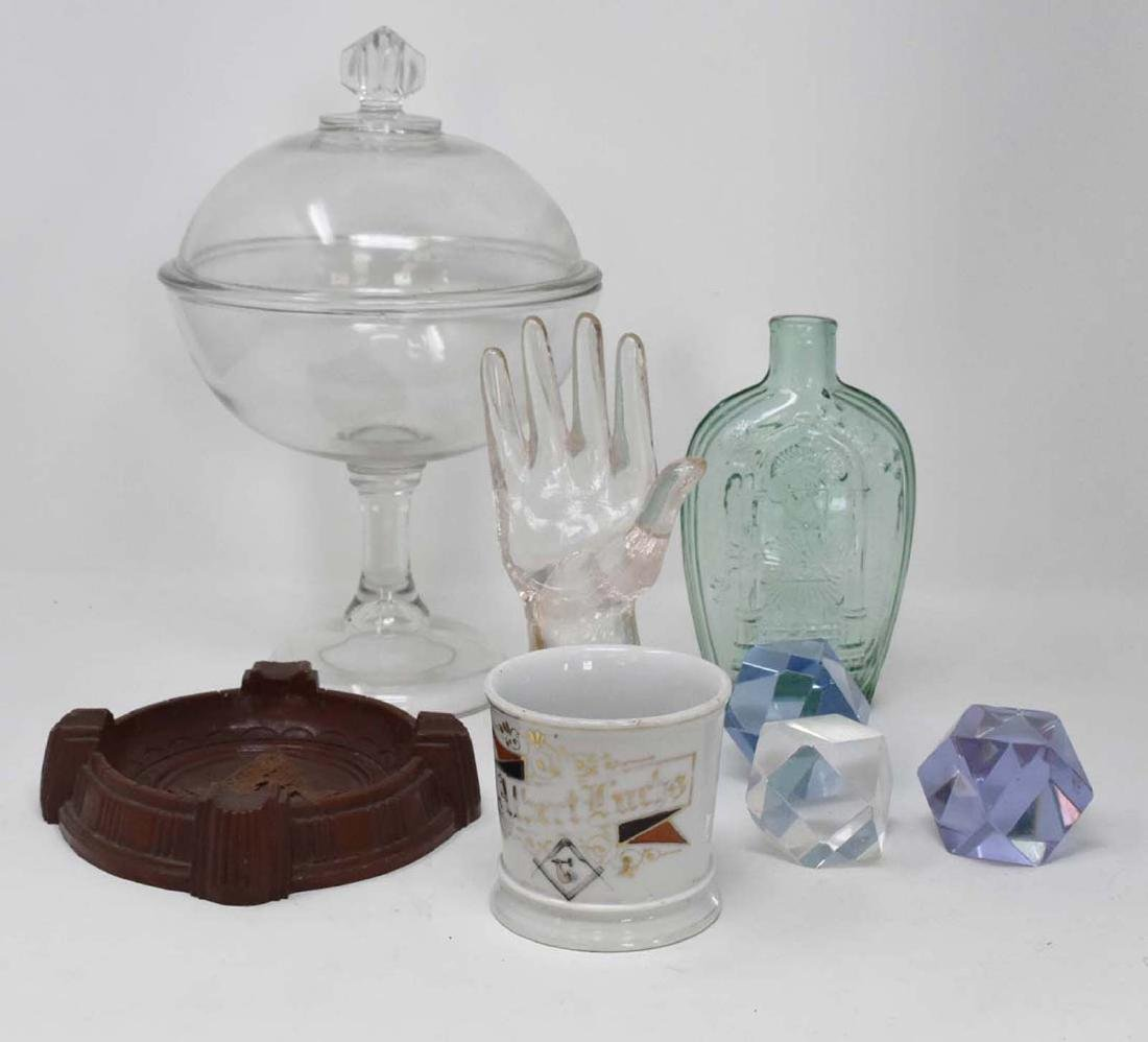8 Masonic items Blue Glass Bottle, Cup and 2 Glass