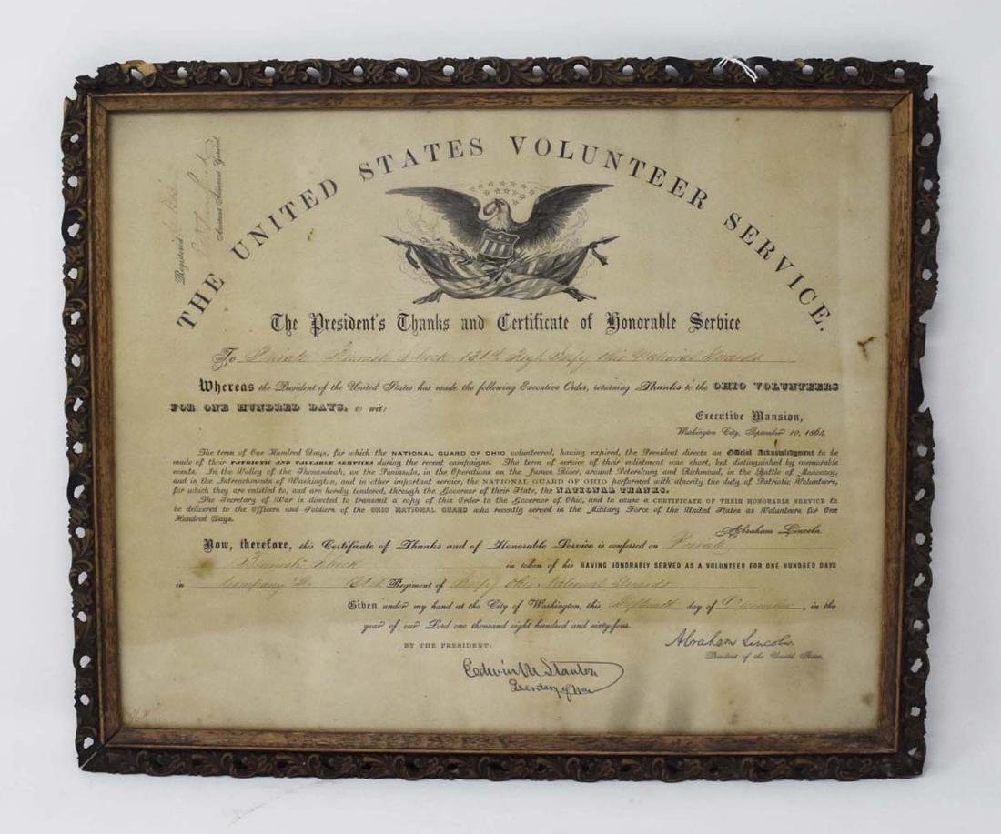 Civil War Discharge with Abraham Lincoln Signature