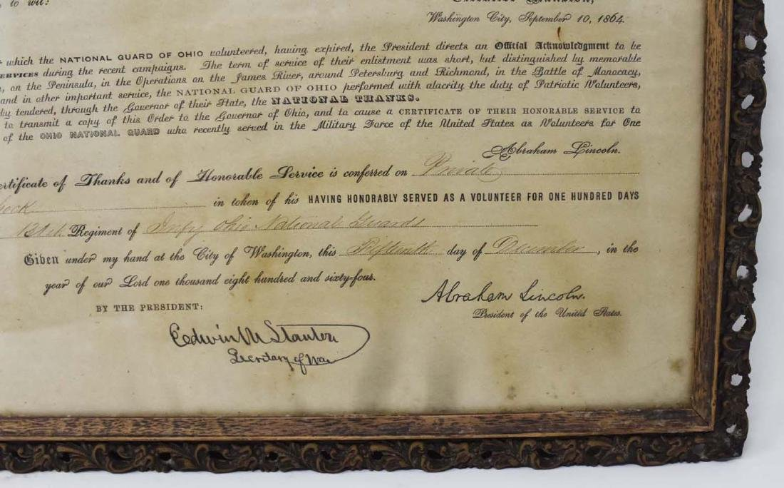 Civil War Discharge with Abraham Lincoln Signature - 2