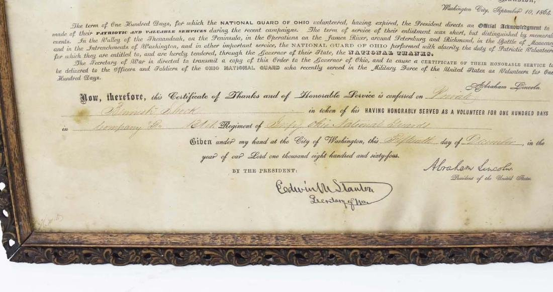Civil War Discharge with Abraham Lincoln Signature - 4