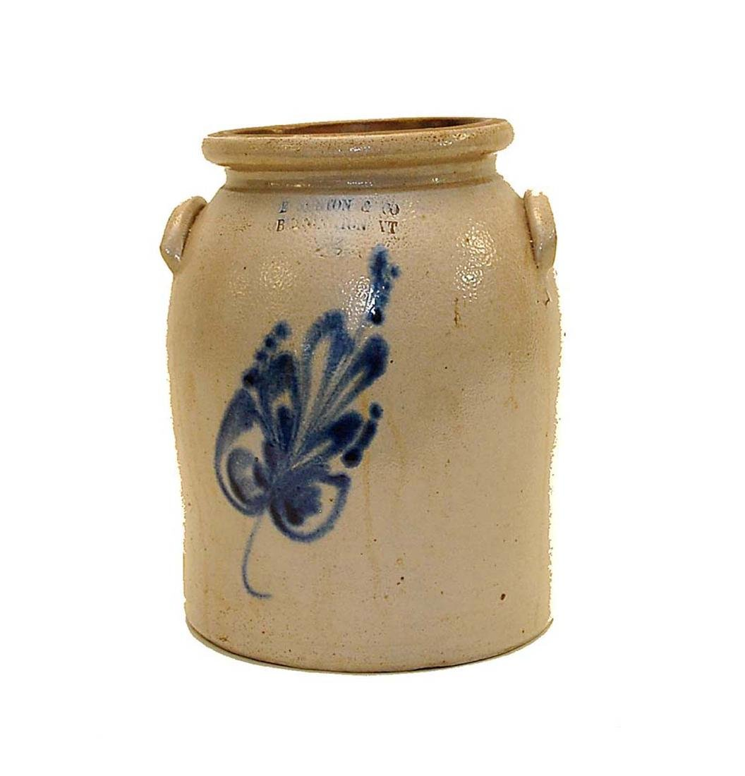 E & L P Norton Blue Decorated Bennington Crock