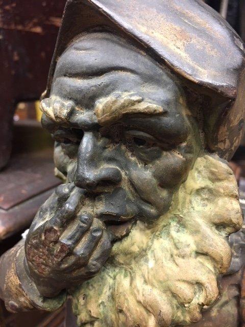 Rare Cigar Store Terra Cotta Polychrome Gnome - 2