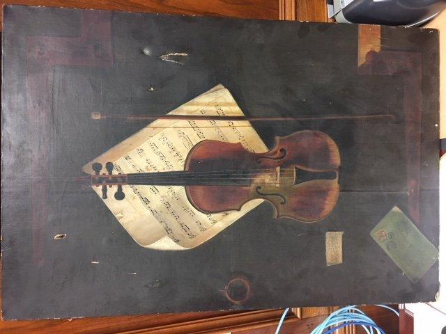 Early Oil Painting Still Life Violin - 11