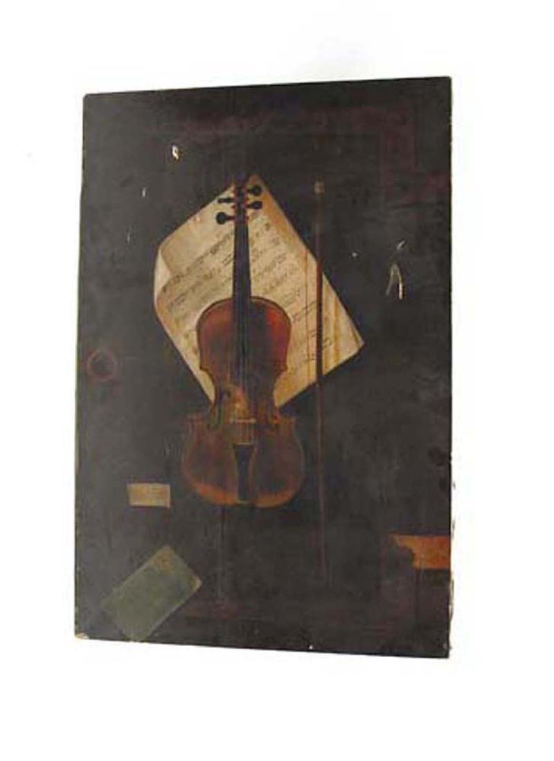 Early Oil Painting Still Life Violin