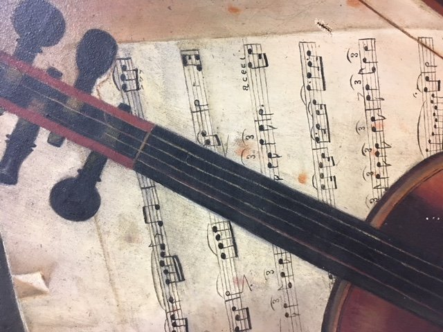 Early Oil Painting Still Life Violin - 7
