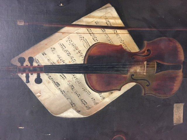 Early Oil Painting Still Life Violin - 8