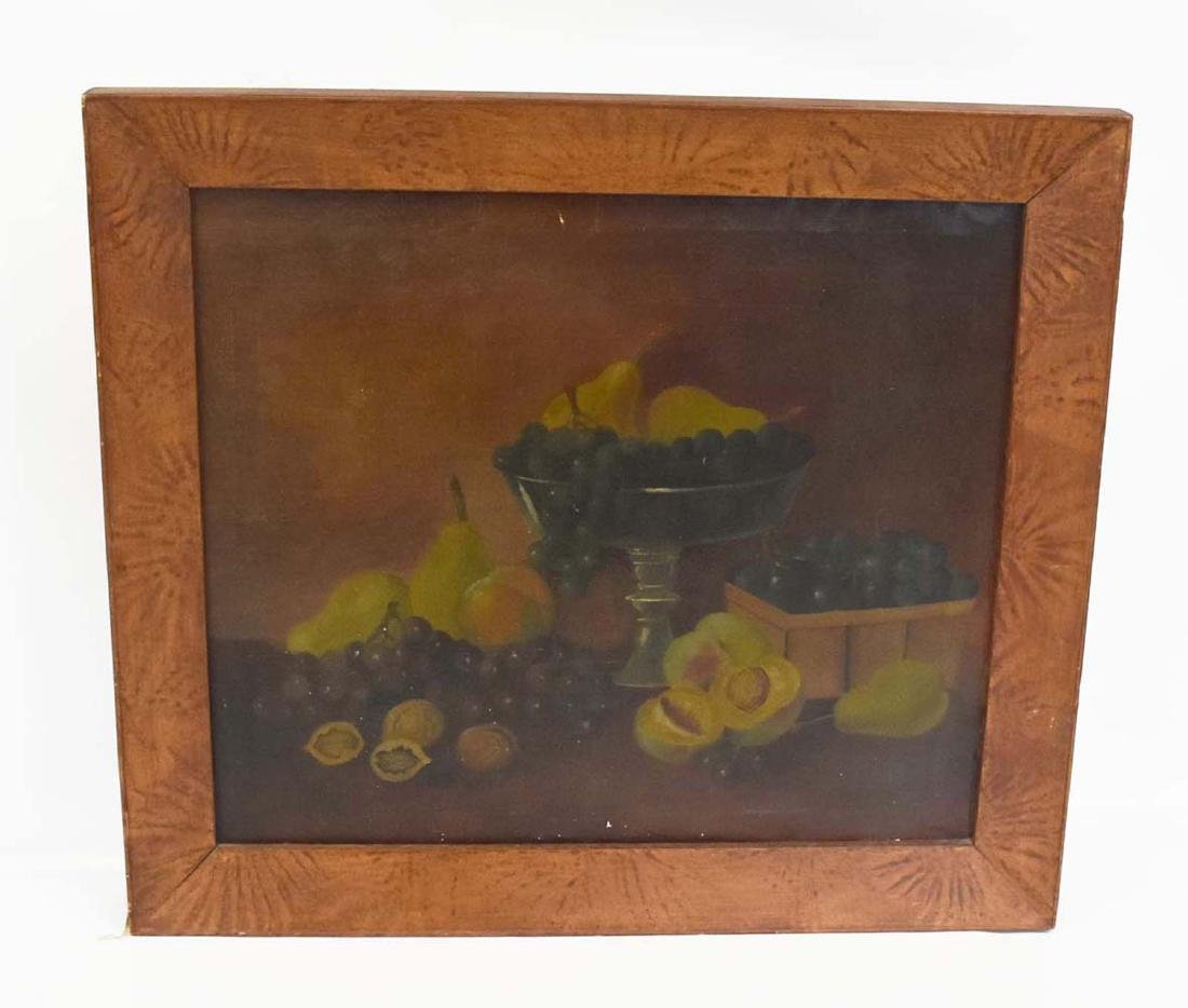 Early Oil on Canvas Still Life in Paint Decorated Frame