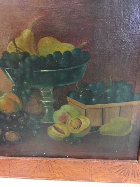 Early Oil on Canvas Still Life in Paint Decorated Frame - 2
