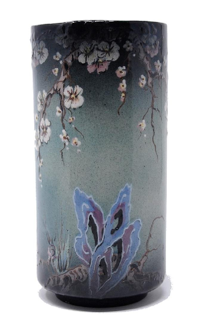 Hand Painted Dogwood Butterfly Art Pottery Vase