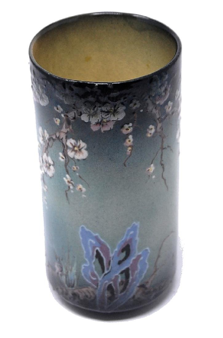 Hand Painted Dogwood Butterfly Art Pottery Vase - 2