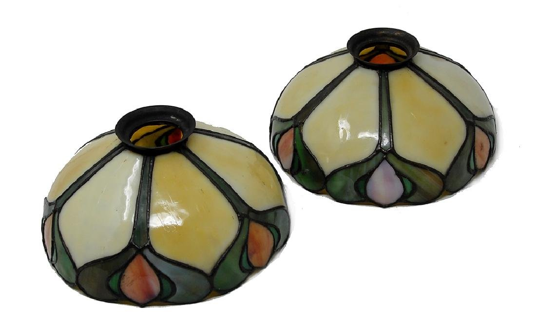 Pair Of Handel Leaded Glass Student Lamp Shades - 2
