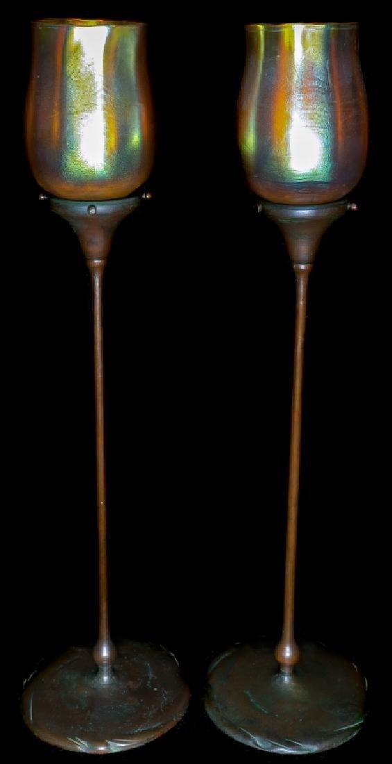 Pair Tiffany Studios Gold Favrile Bronze Candlesticks - 2