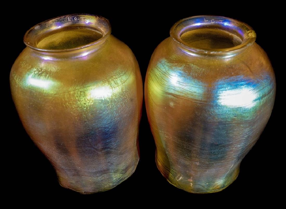 Pair Tiffany Studios Gold Favrile Bronze Candlesticks - 3