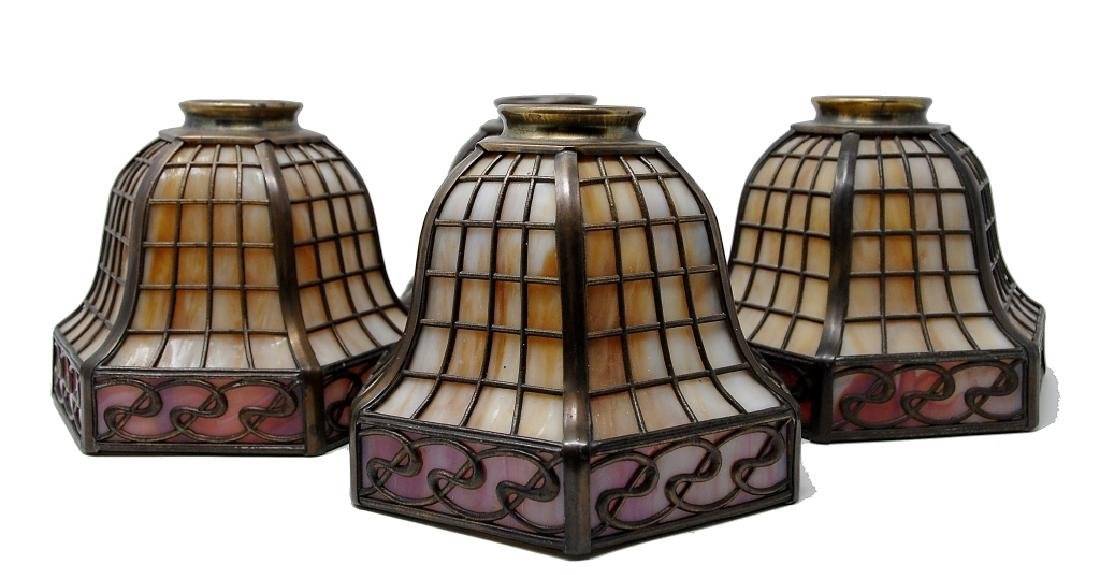 Four Handel Slag Panel Art Glass Shades