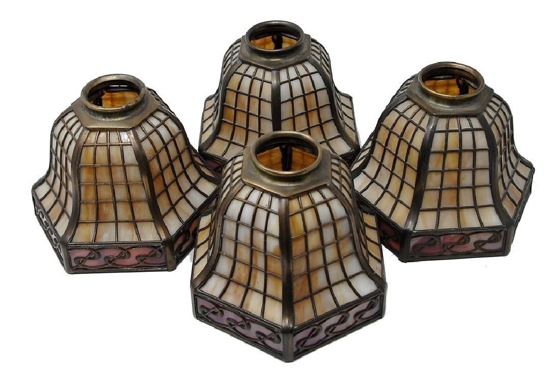Four Handel Slag Panel Art Glass Shades - 2