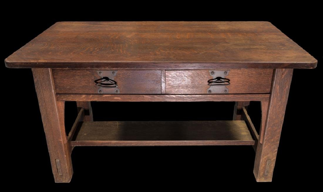 Mission Oak Arts And Crafts Stickley Library Table - 2