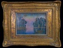 Rookwood Vellum Plaque Landscape Scene In Frame E.T.