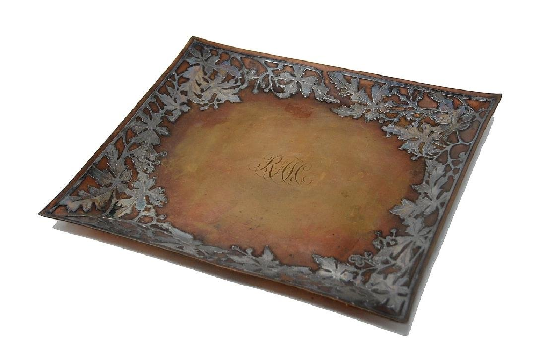 Arts And Crafts Silver On Copper Tray