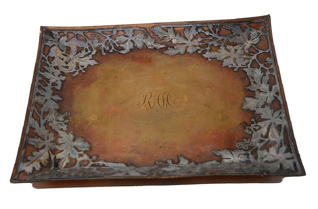 Arts And Crafts Silver On Copper Tray - 2