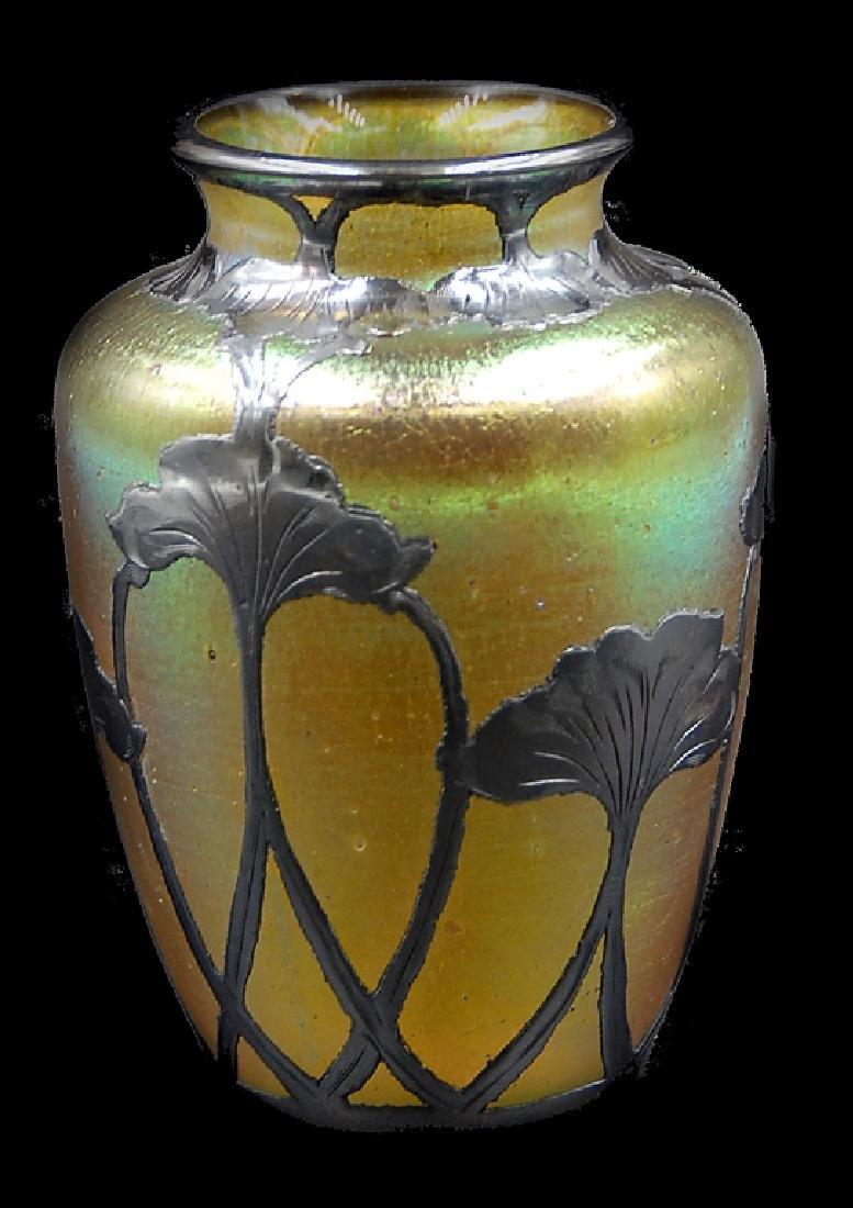 Loetz Silver Overlay Art Glass Vase