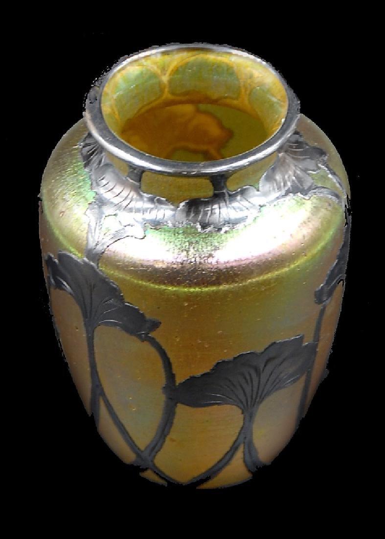 Loetz Silver Overlay Art Glass Vase - 2