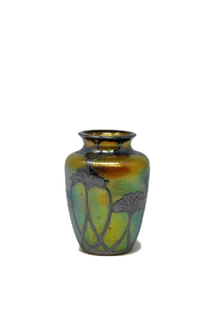 Loetz Silver Overlay Art Glass Vase - 4