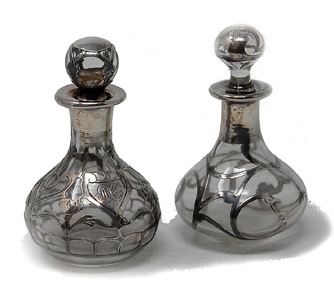 Two Sterling Silver Overlay Bottles