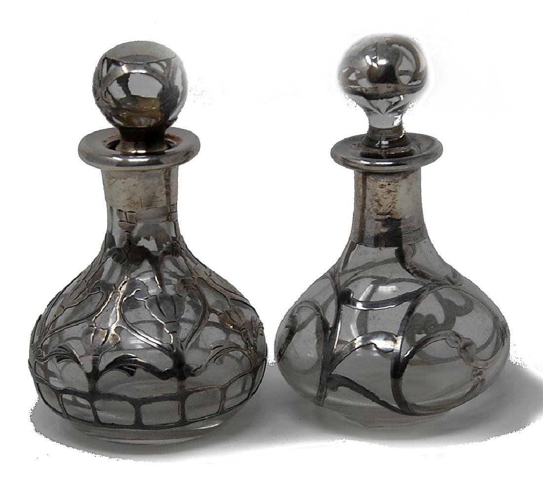 Two Sterling Silver Overlay Bottles - 2