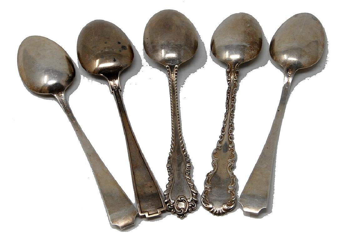 5 Sterling Silver Serving Spoons Whiting - 4