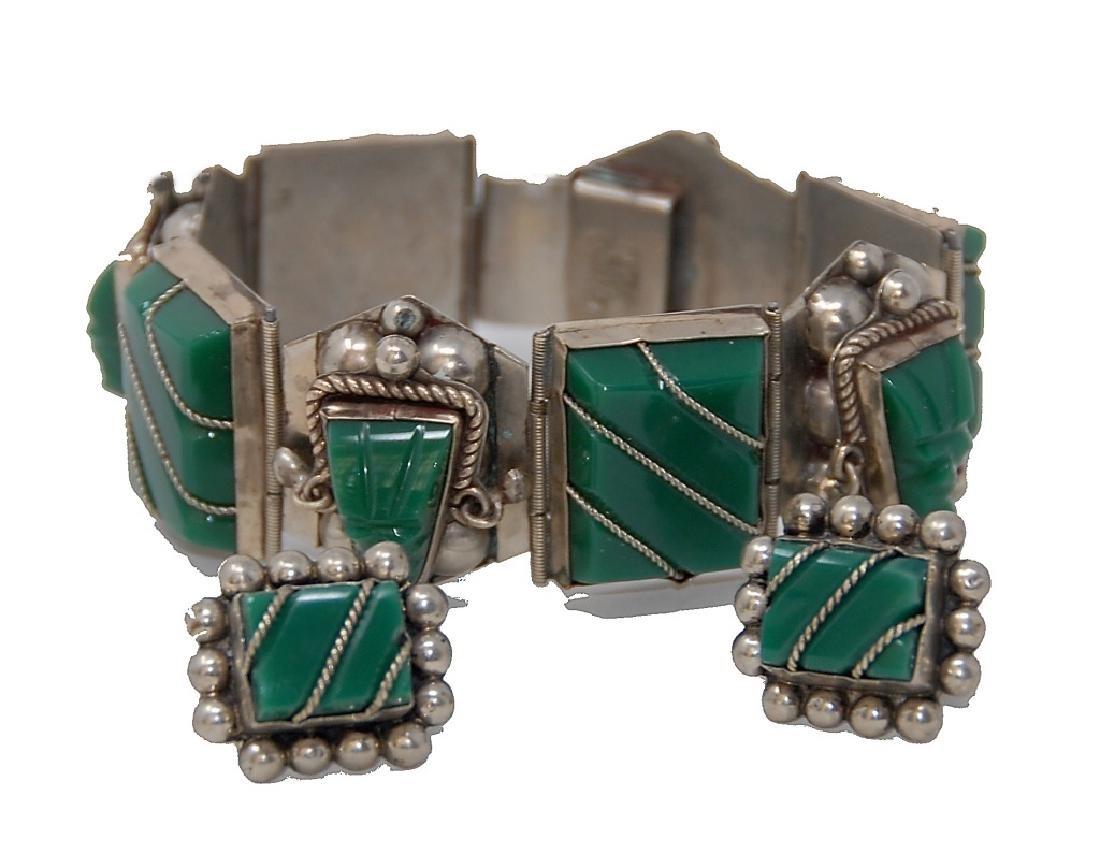 Mexican Sterling Silver Taxco Cut Aztec Faces Bracelet - 2