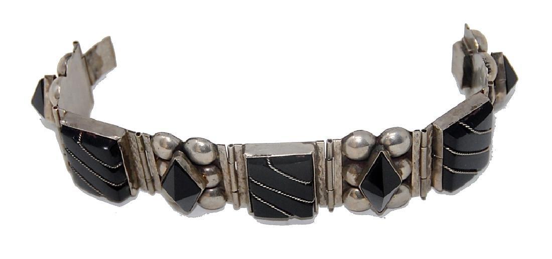 Mexican Sterling Silver Taxco Cut Bracelet - 3