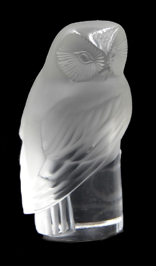 Two Frosted Art Glass Lalique Owl And Figure - 2
