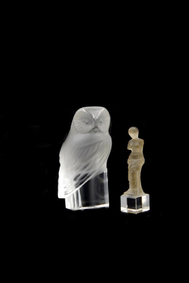 Two Frosted Art Glass Lalique Owl And Figure - 4