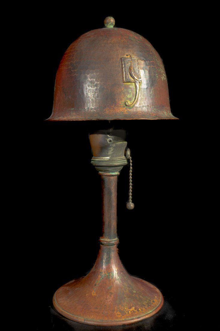 Roycroft Hand Hammered Copper Parrot Lamp