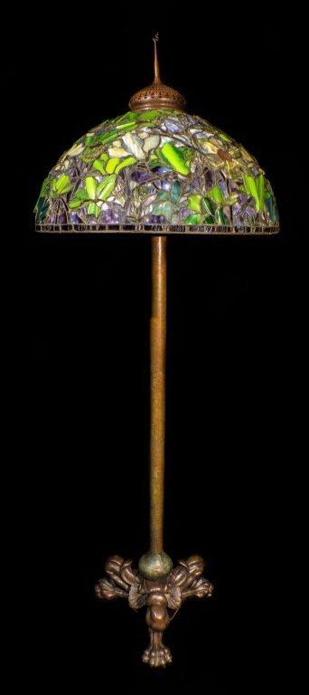Signed Tiffany Studios Bronze Leaded Glass Floor Lamp