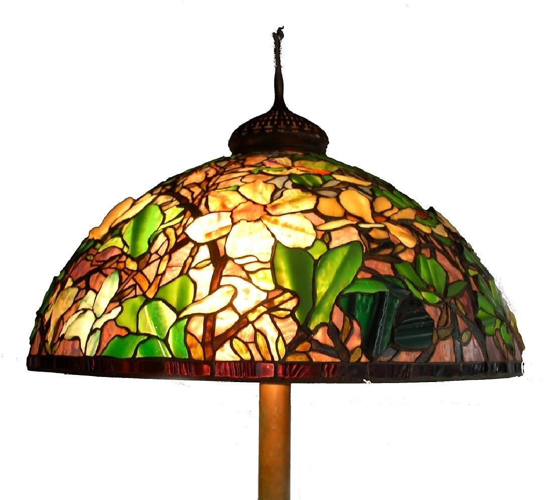 Signed Tiffany Studios Bronze Leaded Glass Floor Lamp - 4