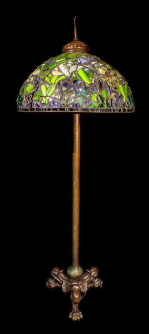 Signed Tiffany Studios Bronze Leaded Glass Floor Lamp - 5