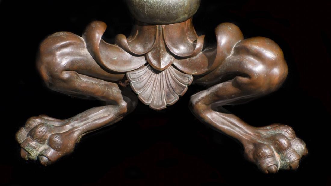 Signed Tiffany Studios Bronze Leaded Glass Floor Lamp - 6
