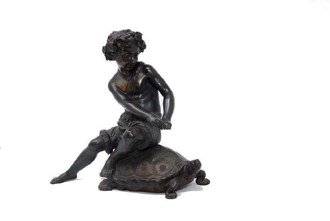 Antique Bronze Sculpture Boy Riding Turtle