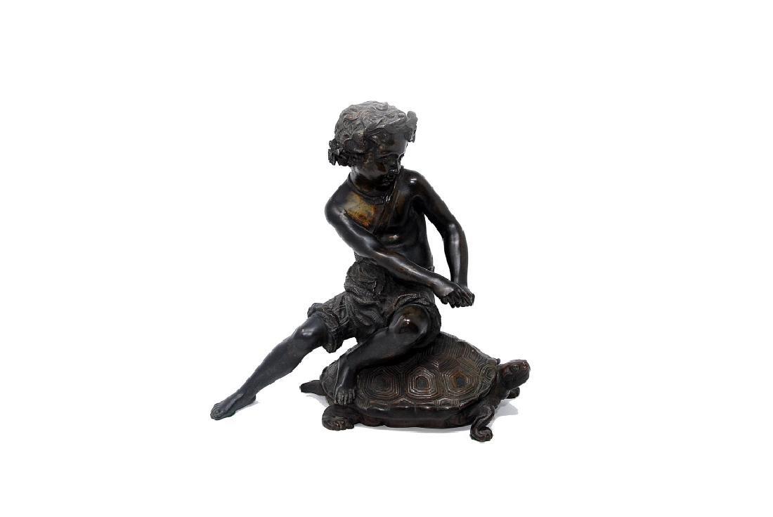 Antique Bronze Sculpture Boy Riding Turtle - 2