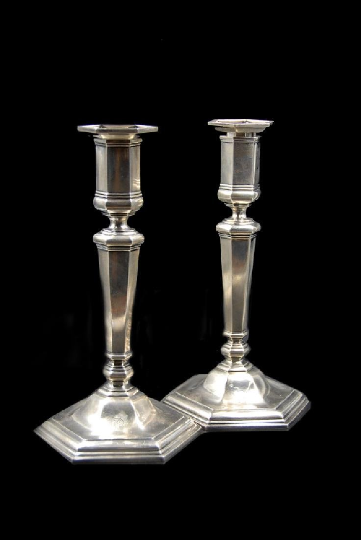Pair Tiffany Co. Makers Sterling Silver Candlesticks